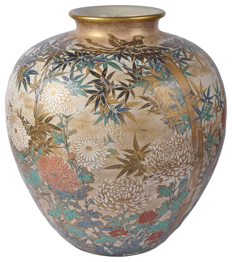 A very good quality large late 19th century Japanese Satsuma vase. Depicting hand painted flowers and bamboo in classical Satsuma colors.