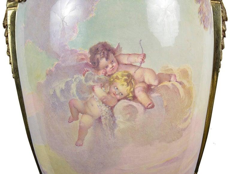 Large 19th Century Sevres Style Porcelain Vase For Sale 1