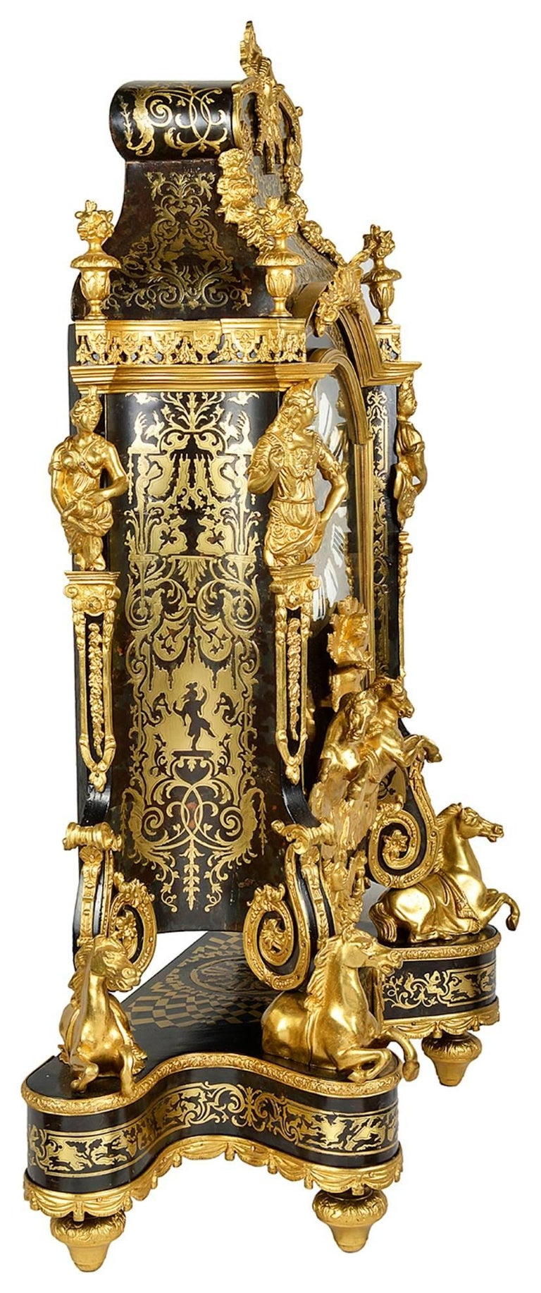 Large, 19th Century Boulle inlaid Mantel clock For Sale 1