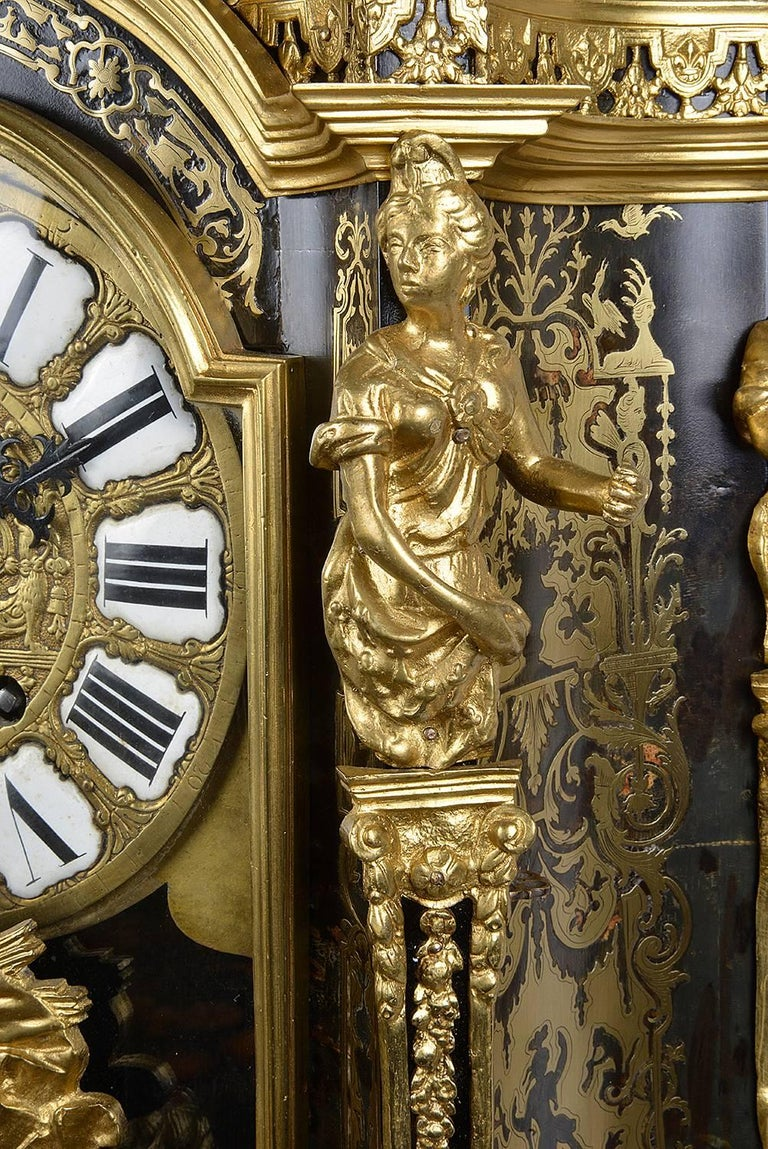 Large, 19th Century Boulle inlaid Mantel clock In Good Condition For Sale In Brighton, Sussex