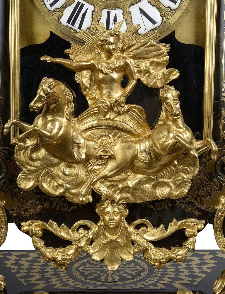 French Large, 19th Century Boulle inlaid Mantel clock For Sale