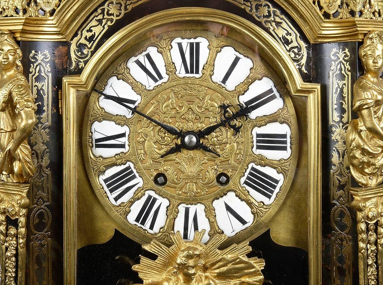 Inlay Large, 19th Century Boulle inlaid Mantel clock For Sale