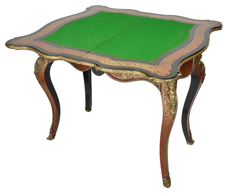 Inlay 19th Century Boulle Card Table For Sale
