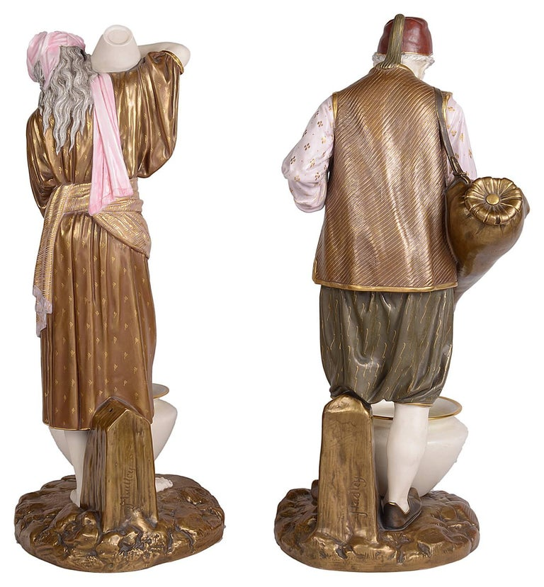 English Pair of 19th Century Royal Worcester Eastern Water Carriers For Sale