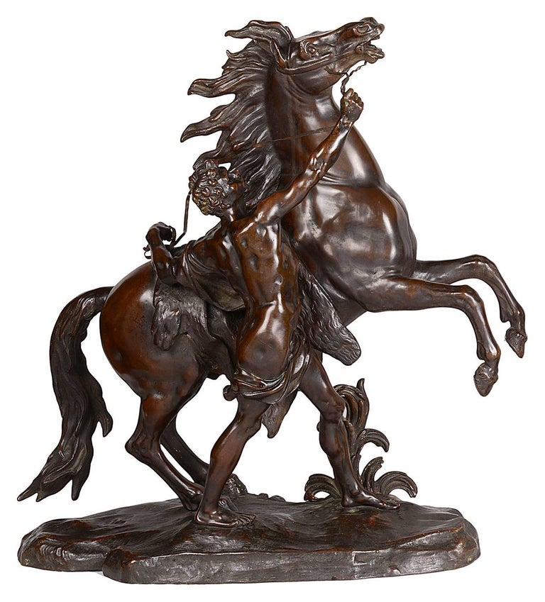 Large Pair of 19th Century Bronze Marley Horses, after Coustou For Sale 1