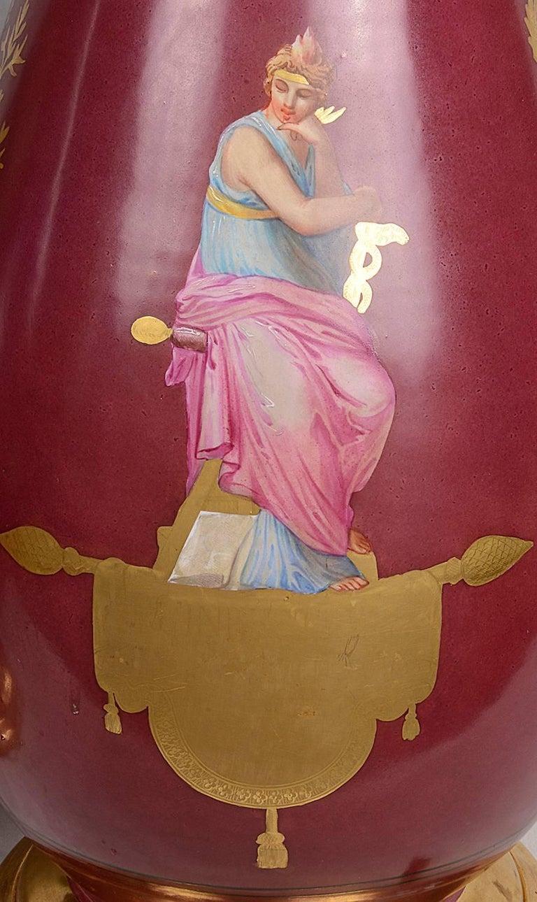 Greco Roman Pair of Paris Porcelain 19th Century Vases or Lamps For Sale