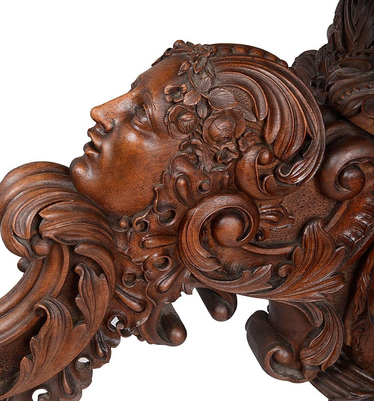 19th Century Carved Walnut Centre Table In Good Condition For Sale In Brighton, Sussex