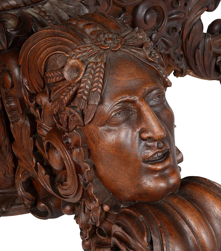 19th Century Carved Walnut Centre Table For Sale 1