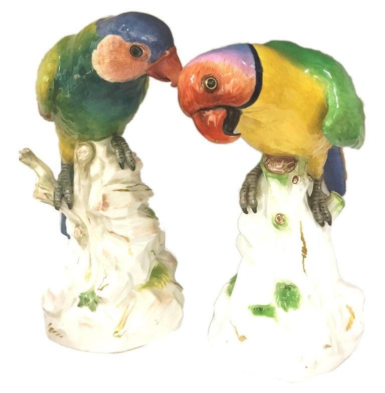 German Pair of 19th Century Meissen Parrots For Sale