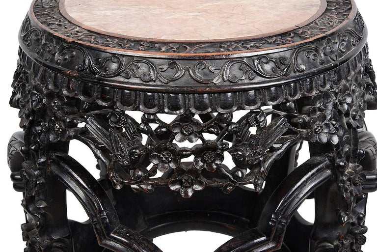 Carved 19th Century Chinese Hardwood Barrell Garden Seat For Sale