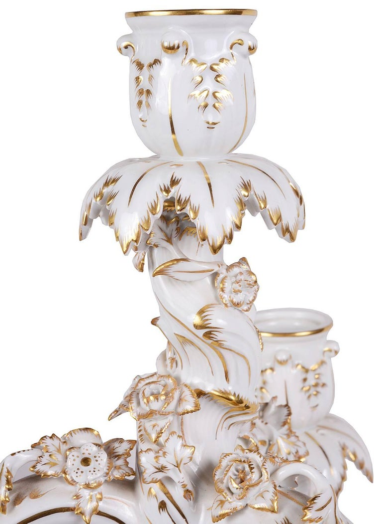 German Pair of 19th Century Meissen Porcelain Candelabra For Sale