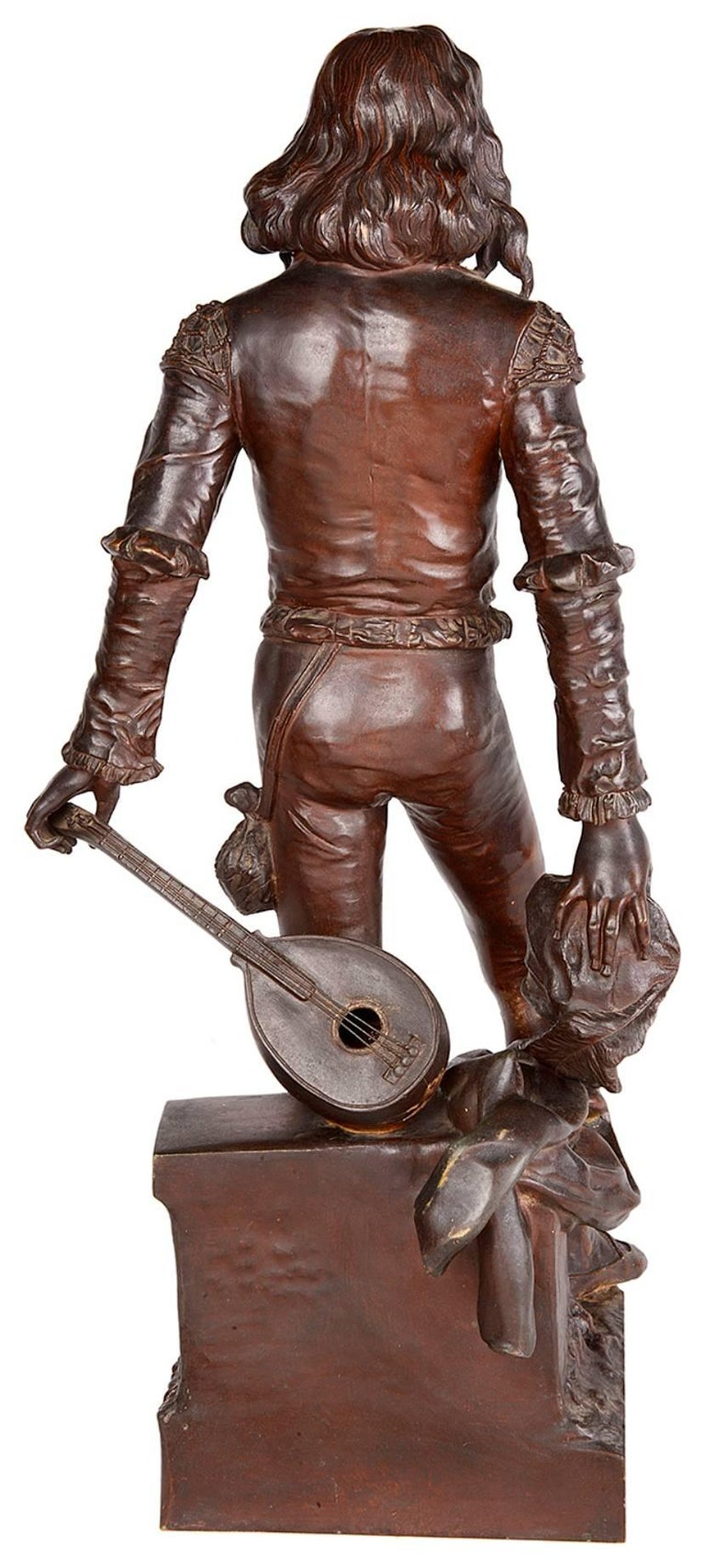 French Bronze Minstrel by Renzo Colombo For Sale