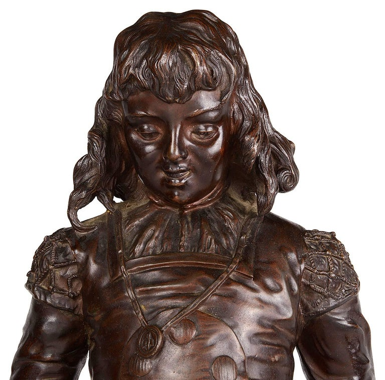 A very pleasing 19th century bronze statue of a Minstrel, signed Colombo.  The Italian Artist Renzo Colombo (1856-1885), studied at the Brera Academy of Fine Art. After a period of working in Rome he returned to his home town of Gallarate where he