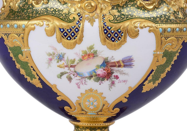 Hand-Painted Royal Crown Derby by Desire Leroy For Sale