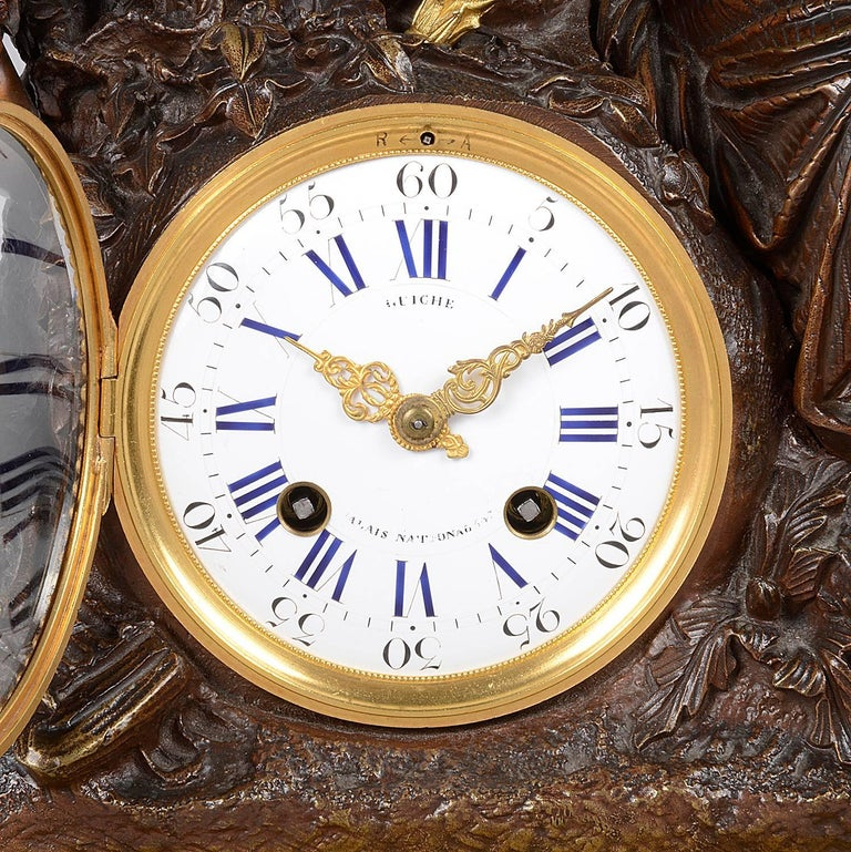Bronze Large Louis XVI Style Clock Set, 19th Century For Sale