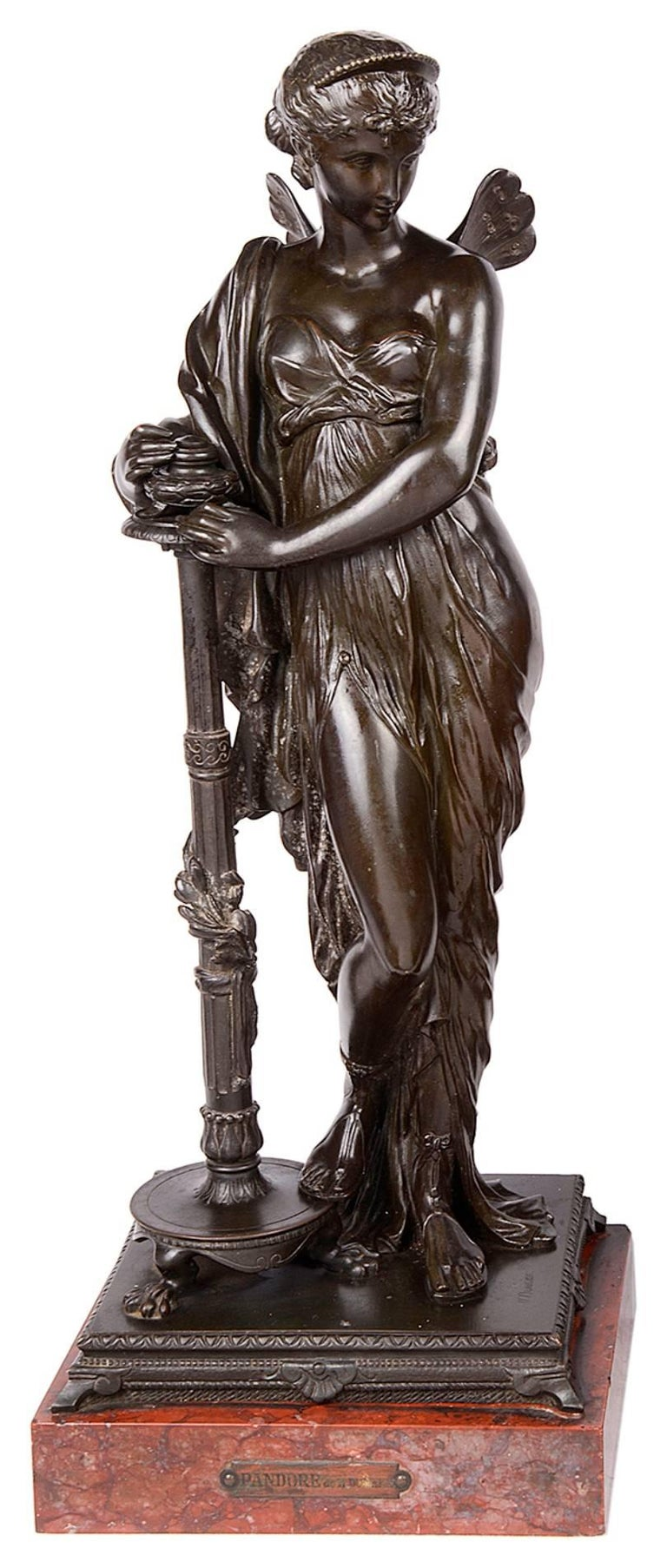 Greco Roman Psyche and Pandora Classical Bronze Statues, 19th Century, Signed H. Dumaige For Sale