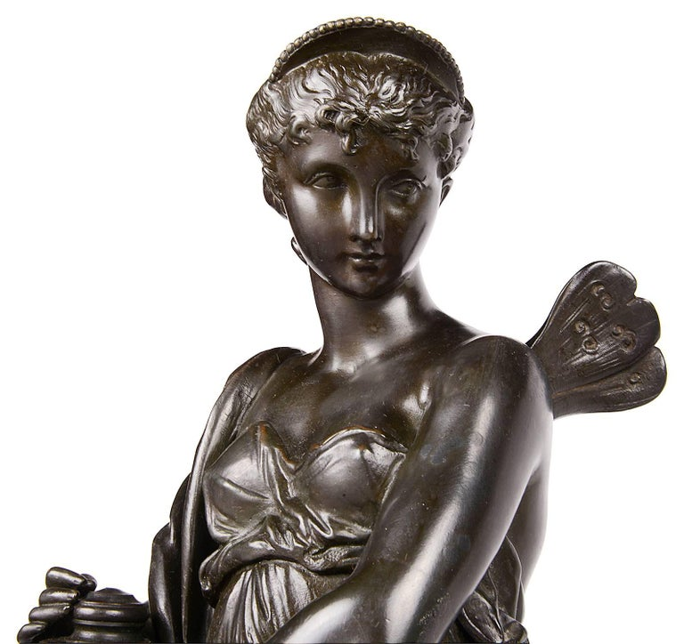 Psyche and Pandora Classical Bronze Statues, 19th Century, Signed H. Dumaige For Sale 2