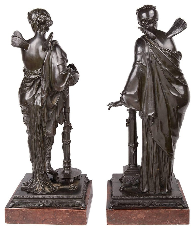 Psyche and Pandora Classical Bronze Statues, 19th Century, Signed H. Dumaige For Sale 3
