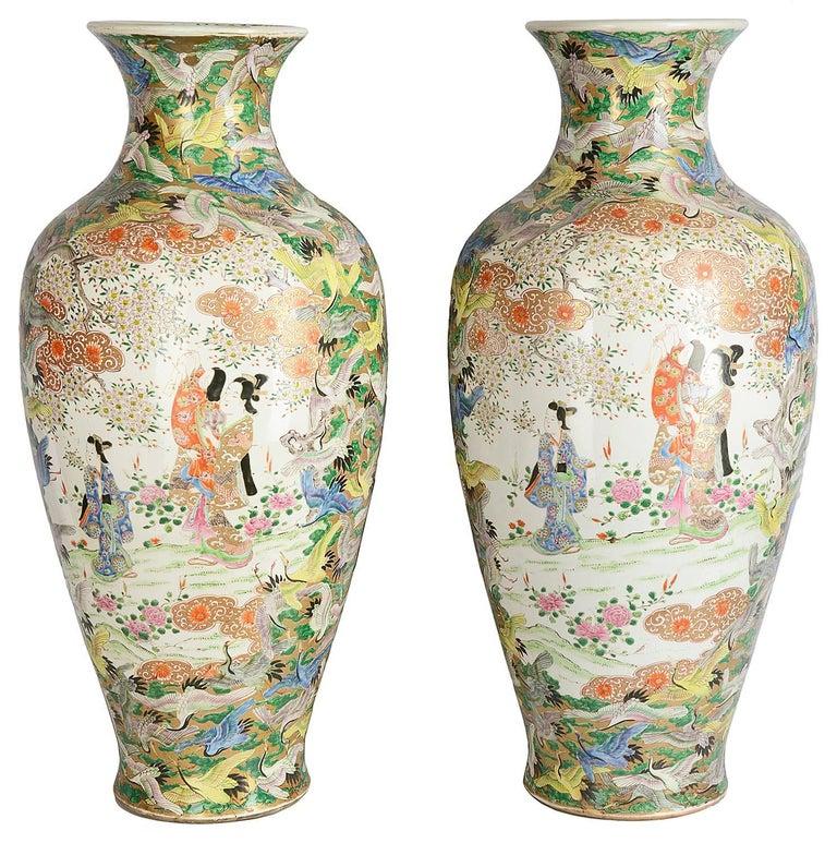 Large Pair Of Japanese Kutani Vases Meiji Period For Sale At 1stdibs