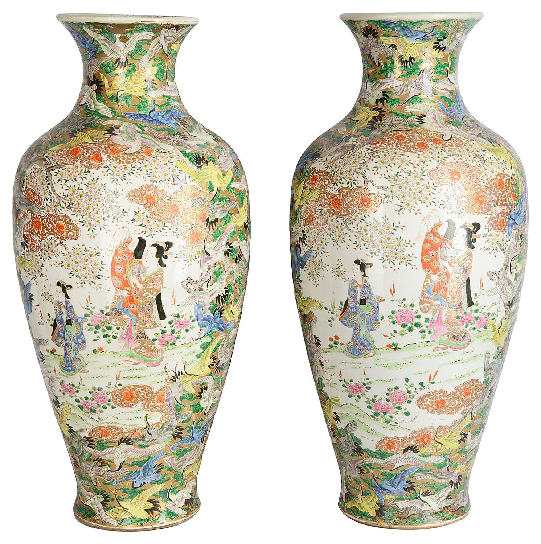 Large Pair of Japanese Kutani Vases, Meiji Period