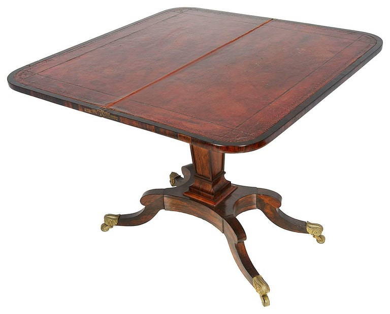 Pair of Regency Period Rosewood Card Tables In Good Condition For Sale In Brighton, Sussex