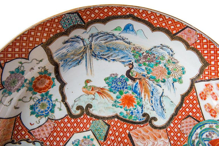 Porcelain Large Japanese Imari Charger, 19th Century For Sale