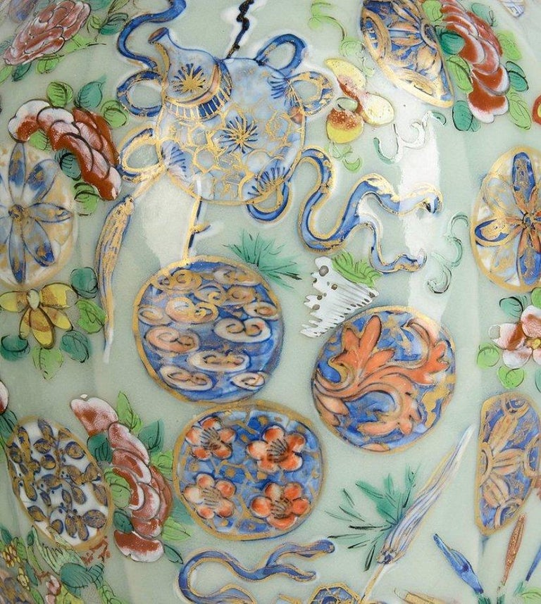 Hand-Painted Near Pair of 19th Century Chinese Celadon / Rose Medallion Vases / Lamps For Sale