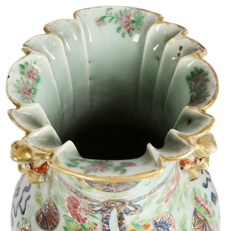 Porcelain Near Pair of 19th Century Chinese Celadon / Rose Medallion Vases / Lamps For Sale