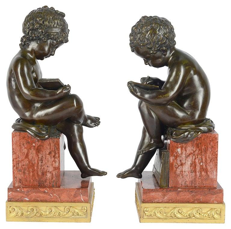Pair of 19th Century Bronze Putti For Sale 2