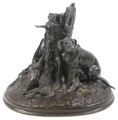 P.J. Mene Bronze Study of Gun Dog, circa 1850