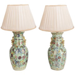 Near Pair of 19th Century Chinese Celadon/Rose Medallion Vases/Lamps