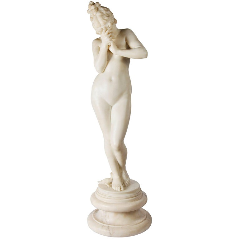 E. Rosa Carved 19th Century Italian Marble Statue of a Nude For Sale
