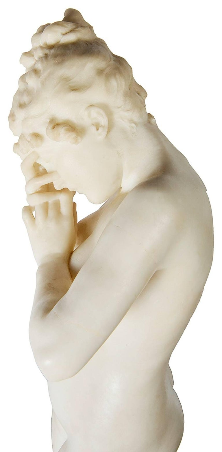 E. Rosa Carved 19th Century Italian Marble Statue of a Nude For Sale 3