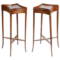 Pair of 18th Century Style Inlaid Urn Stands