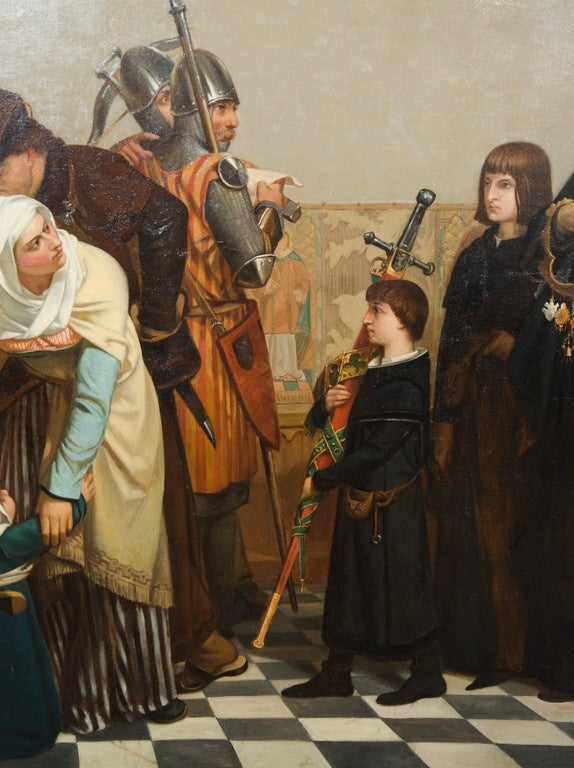 Large 19th Century Medieval Oil Painting At 1stdibs