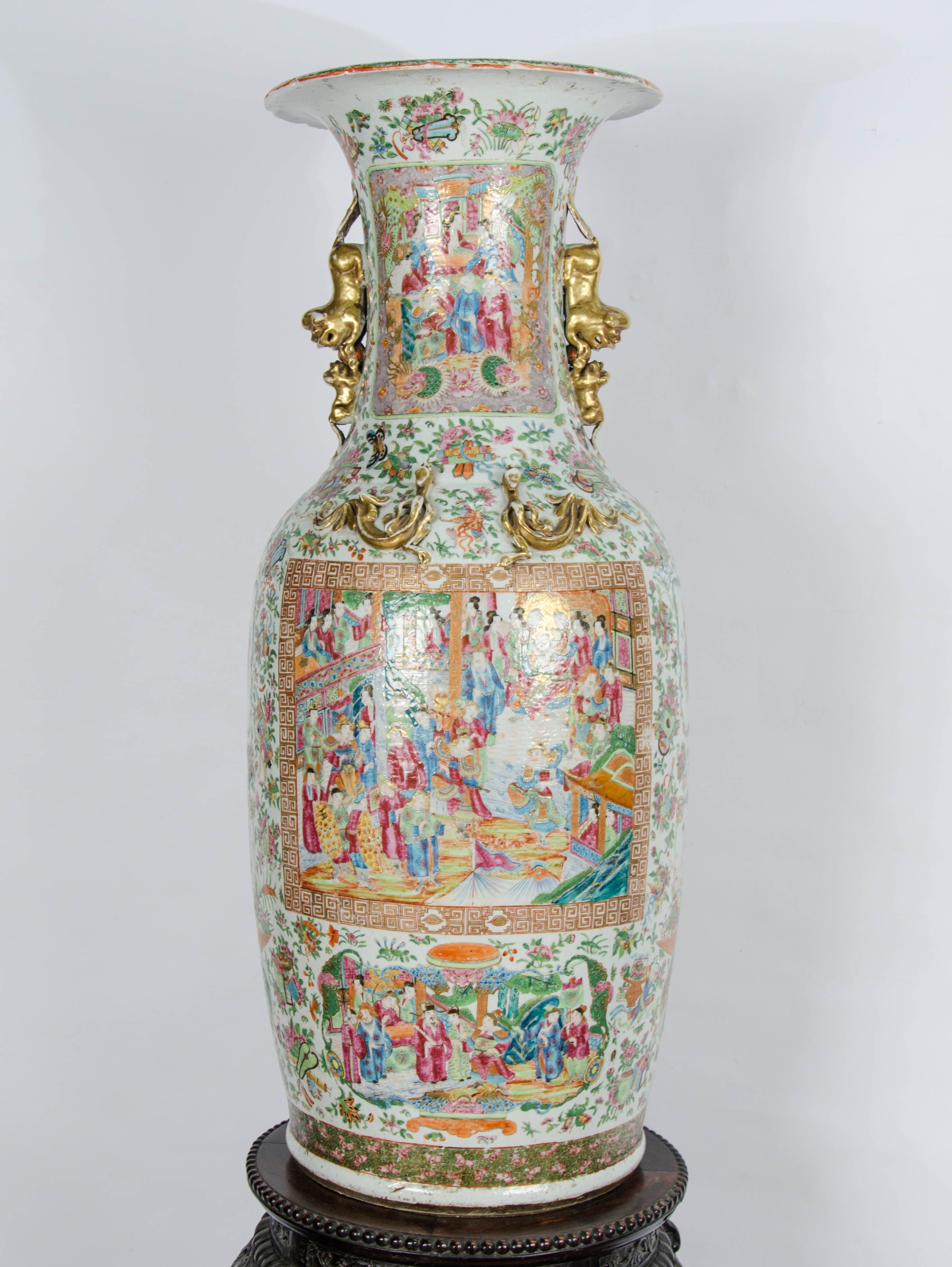Large 19th Century Chinese Rose Medallion Vase on Stand