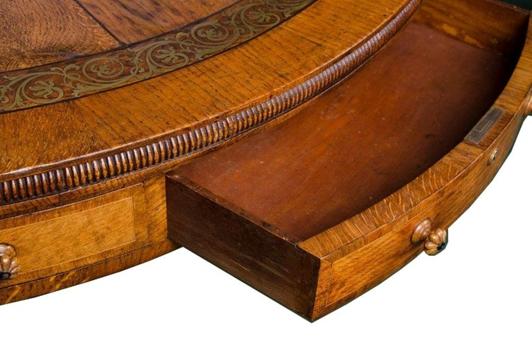 Regency period, Pollard Oak Drum table, 1820 For Sale 1