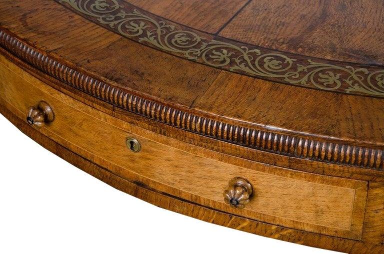 Regency period, Pollard Oak Drum table, 1820 For Sale 2
