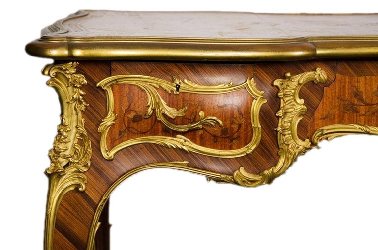 Louis XV 19th Century, Bureau Plat, by Francoise Linke. For Sale