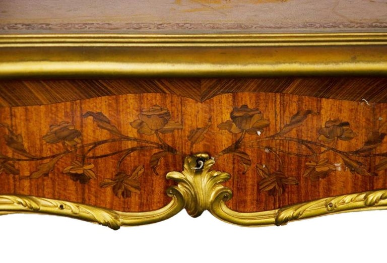 Marquetry 19th Century, Bureau Plat, by Francoise Linke. For Sale