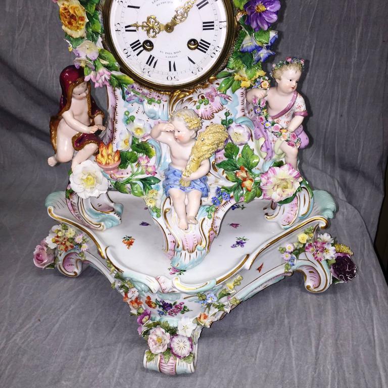 German 19th Century Meissen Porcelain Clock For Sale