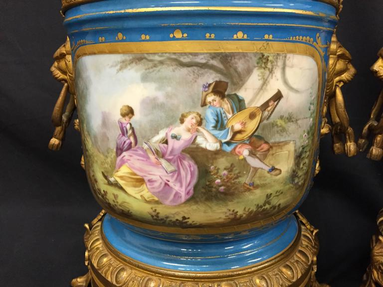 French Pair of 19th Century Sevres Jardinieres For Sale