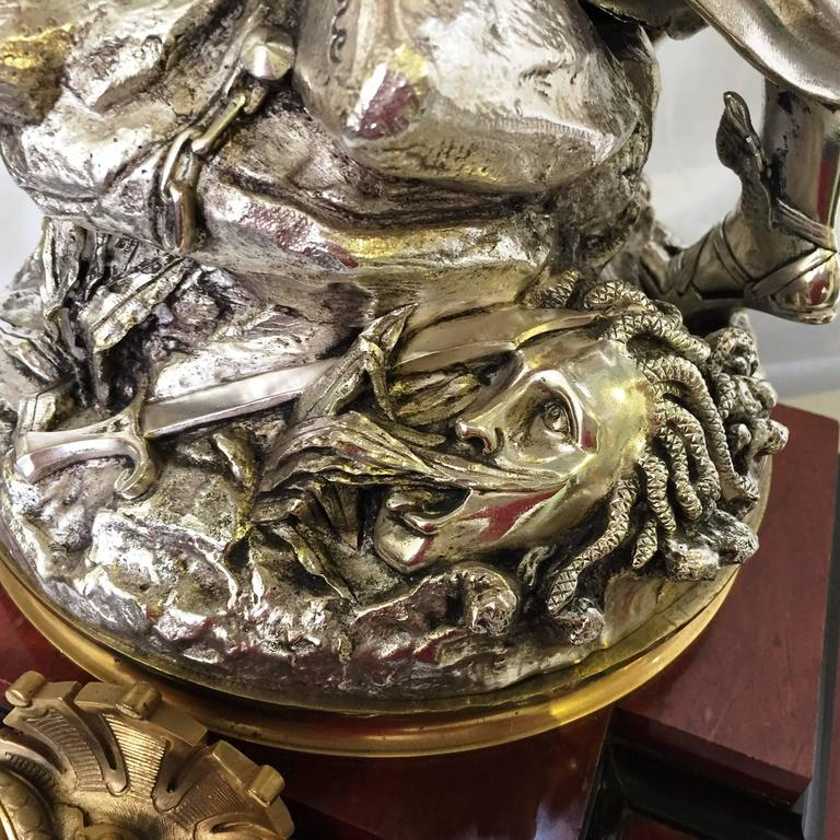 Bronze 19th Century Clock Garniture by L. Gregoire For Sale