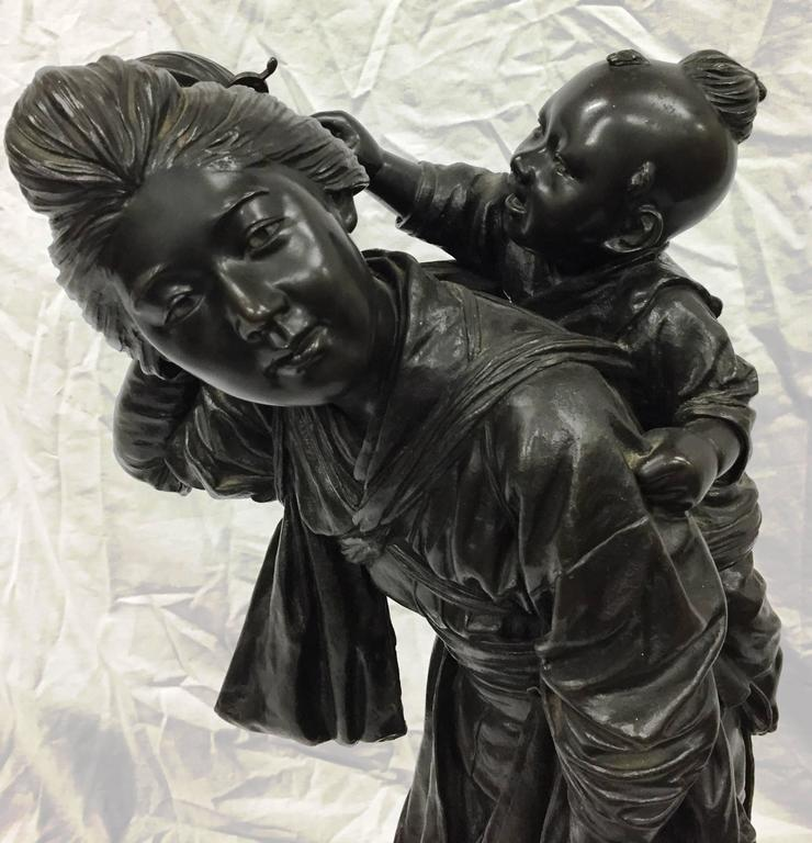 Japanese Large Meiji Period of Mother and Child For Sale