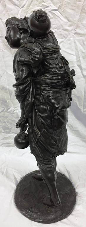 Cast Large Meiji Period of Mother and Child For Sale