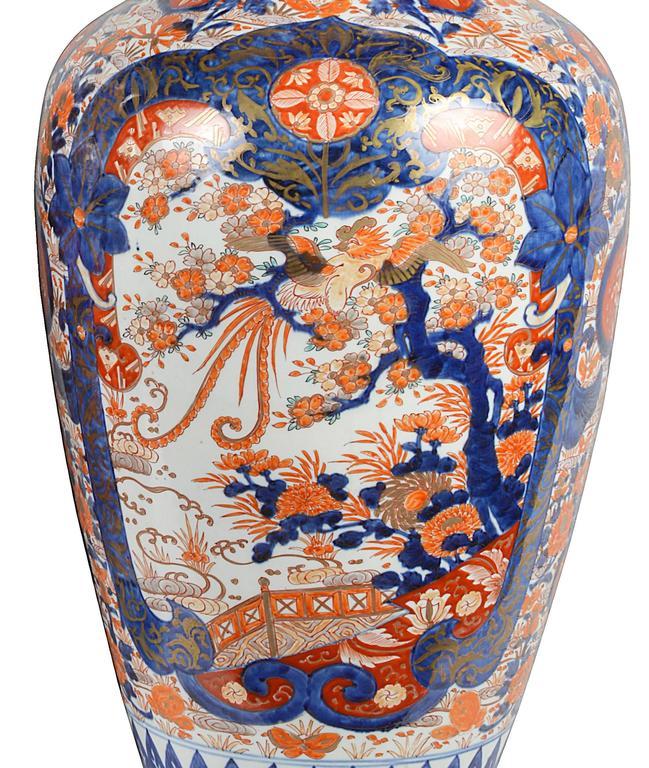Japanese Large Pair of 19th Century Imari Vases For Sale