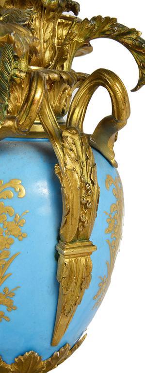Gilt Large Pair of Antique Sevres Candelabra For Sale