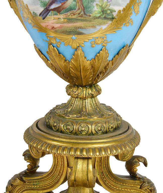 Porcelain Large Pair of Antique Sevres Candelabra For Sale