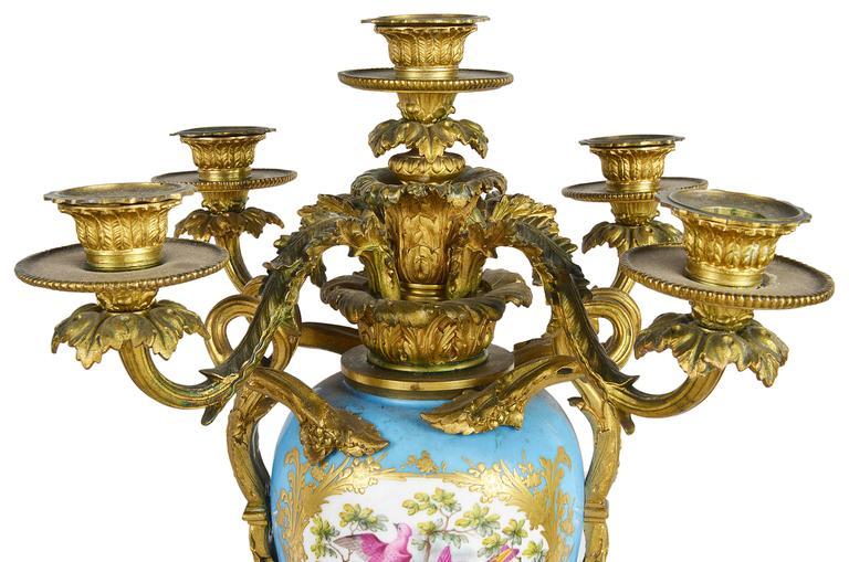 Large Pair of Antique Sevres Candelabra For Sale 1
