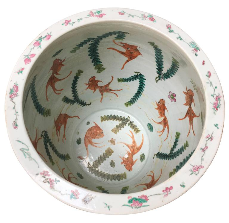 Chinese 19th Century Famille Rose Fish Bowl For Sale At